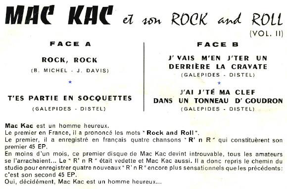 MAC KAC et son ROCK AND ROLL Ep_mac_kac_bleu7870